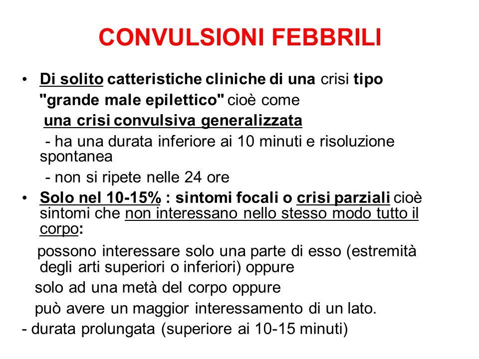 CONVULSIONI FEBBRILI Di solito catteristiche cliniche di una crisi tipo