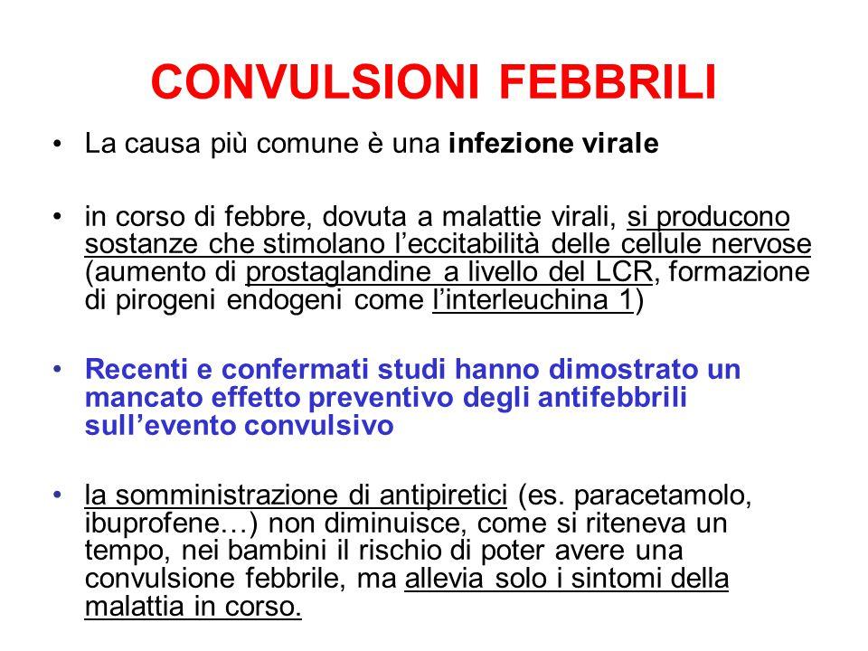 CONVULSIONI FEBBRILI La causa più comune è una infezione virale in corso di febbre, dovuta a malattie virali, si producono sostanze che stimolano l'eccitabilità delle cellule nervose (aumento di prostaglandine a livello del LCR, formazione di pirogeni endogeni come l'interleuchina 1) Recenti e confermati studi hanno dimostrato un mancato effetto preventivo degli antifebbrili sull'evento convulsivo la somministrazione di antipiretici (es.
