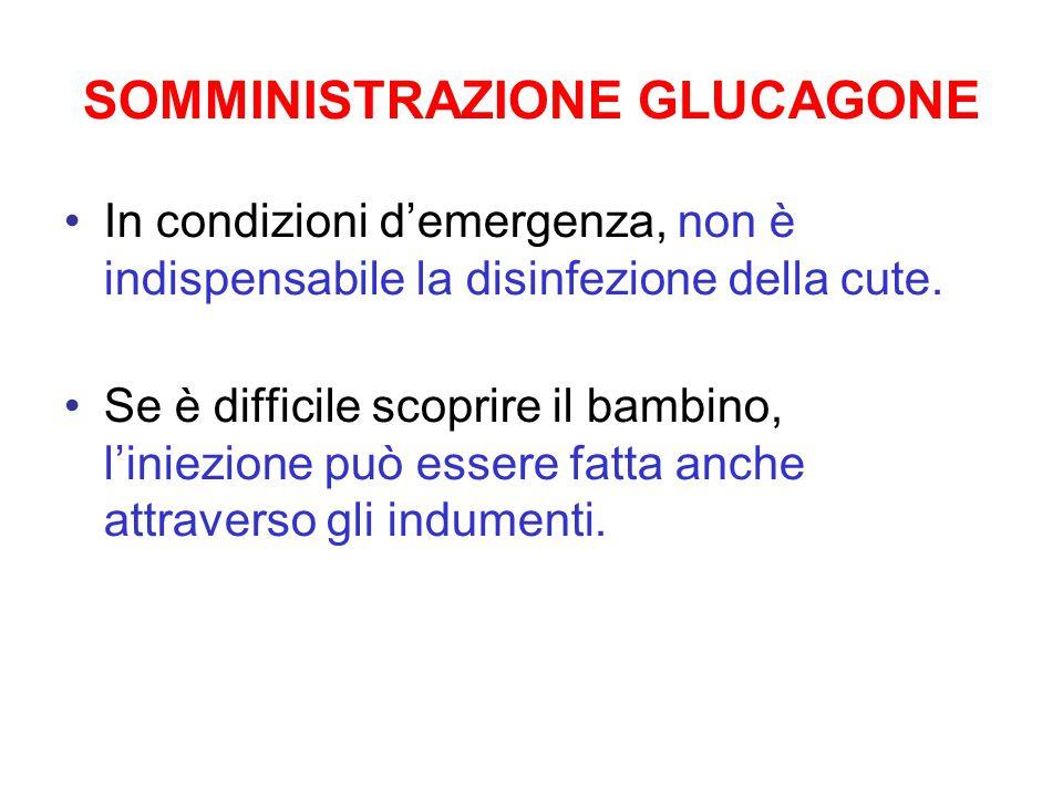 SOMMINISTRAZIONE GLUCAGONE In condizioni d'emergenza, non è indispensabile la disinfezione della cute. Se è difficile scoprire il bambino, l'iniezione