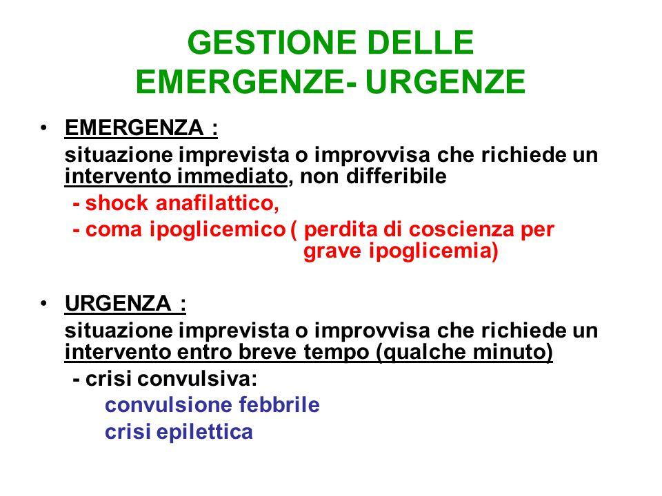 GESTIONE DELLE EMERGENZE- URGENZE EMERGENZA : situazione imprevista o improvvisa che richiede un intervento immediato, non differibile - shock anafila