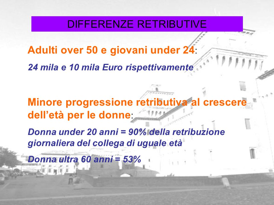 DIFFERENZE RETRIBUTIVE Adulti over 50 e giovani under 24 : 24 mila e 10 mila Euro rispettivamente Minore progressione retributiva al crescere dell'età
