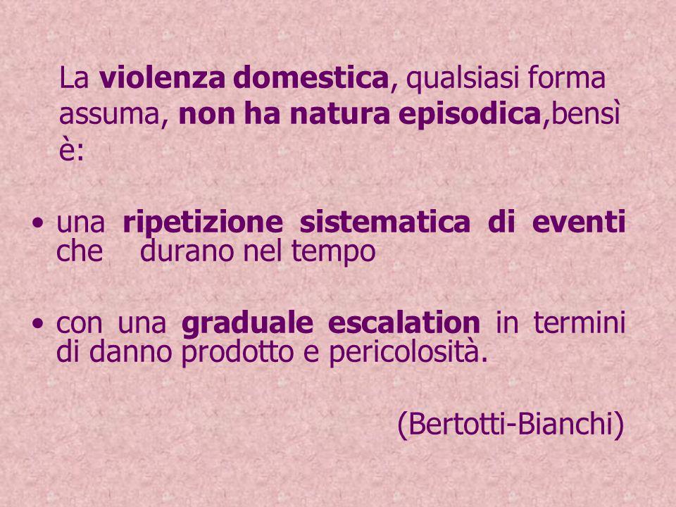 La violenza domestica, qualsiasi forma assuma, non ha natura episodica,bensì è: una ripetizione sistematica di eventi che durano nel tempo con una graduale escalation in termini di danno prodotto e pericolosità.