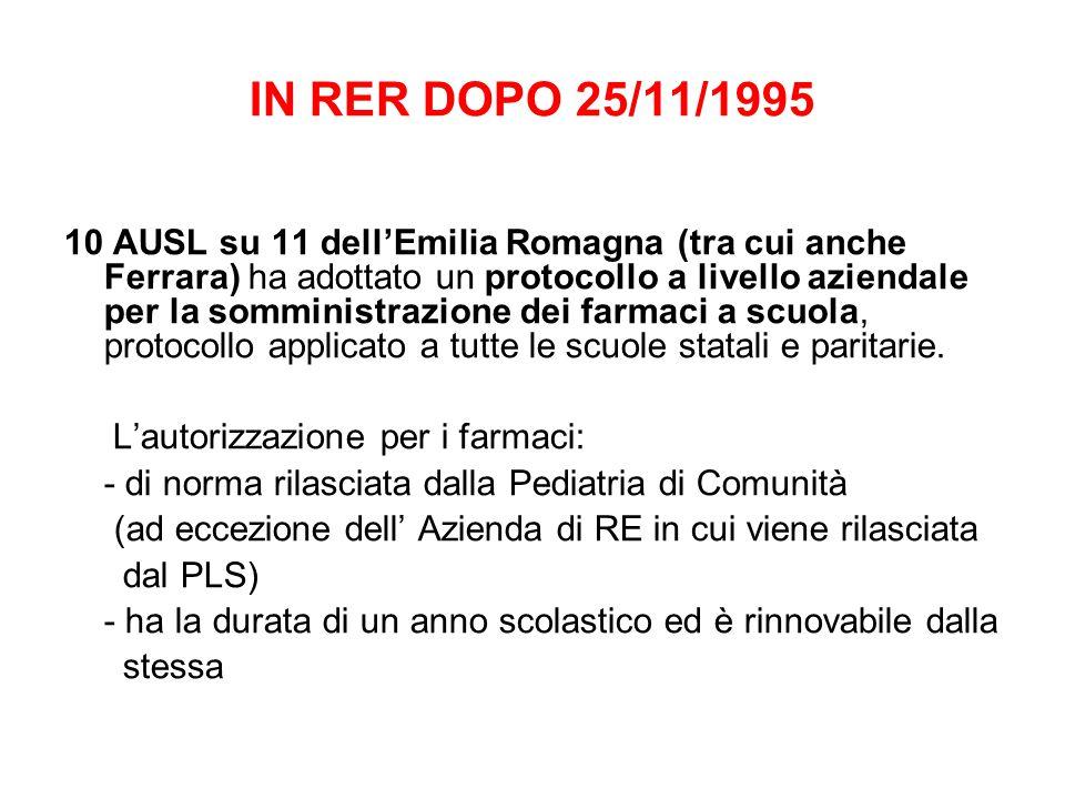 IN RER DOPO 25/11/1995 10 AUSL su 11 dell'Emilia Romagna (tra cui anche Ferrara) ha adottato un protocollo a livello aziendale per la somministrazione dei farmaci a scuola, protocollo applicato a tutte le scuole statali e paritarie.