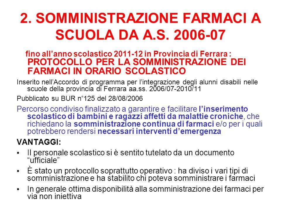 2.SOMMINISTRAZIONE FARMACI A SCUOLA DA A.S.