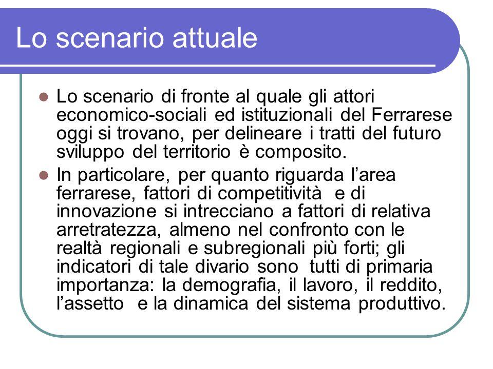 Lo scenario attuale Lo scenario di fronte al quale gli attori economico-sociali ed istituzionali del Ferrarese oggi si trovano, per delineare i tratti del futuro sviluppo del territorio è composito.