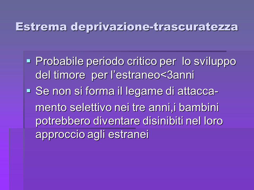 Estrema deprivazione-trascuratezza  Probabile periodo critico per lo sviluppo del timore per l'estraneo<3anni  Se non si forma il legame di attacca-