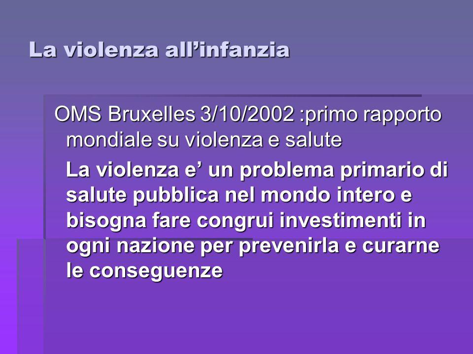 La violenza all'infanzia OMS Bruxelles 3/10/2002 :primo rapporto mondiale su violenza e salute OMS Bruxelles 3/10/2002 :primo rapporto mondiale su vio
