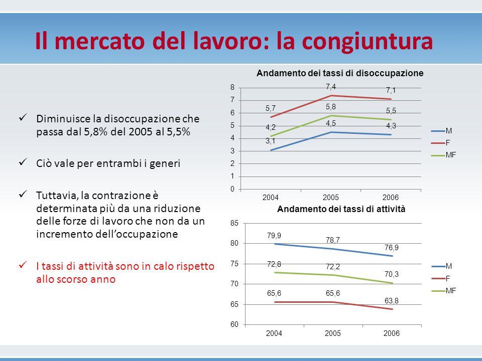 Occupazione Contrazione occupazionale: trasformazioni industriali (-17,3%) Buona performance del terziario (4,6%), trainato dal Commercio (11,6%).