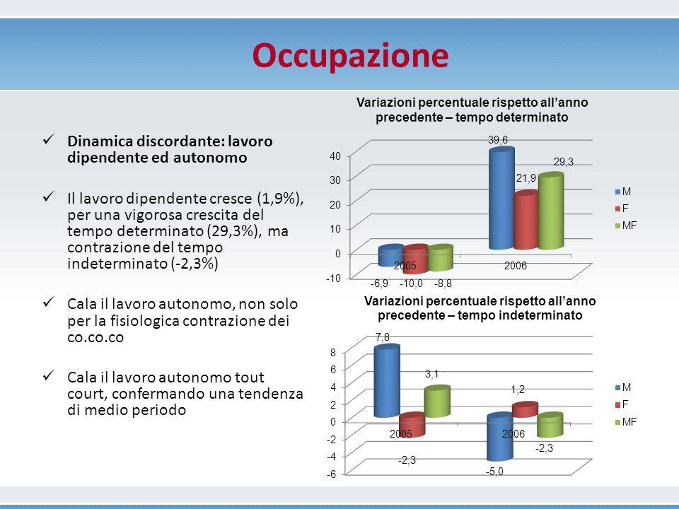 Durata della disoccupazione Intervalli di durata (%) e durata media in mesi nella provincia di Ferrara e in Emilia Romagna nel periodo 2004-2006 M F MF 200420052006200420052006200420052006 FERRARA 0 - 3 mesi (%)38,9338,1162,1540,0420,0039,6439,6027,7349,26 12 mesi e oltre (%) 28,9222,7718,5921,9730,9841,7924,7527,4831,87 Totale (Durata media in mesi) 14,818,18,214,020,513,714,319,511,4 EMILIA ROMAGNA 0 - 3 mesi (%) 44,4331,1842,1840,5922,3041,8942,1425,8242,02 12 mesi e oltre (%)27,8421,7329,6230,6233,2835,5629,5028,6932,97 Totale (Durata media in mesi) 12,114,211,610,820,212,611,317,912,2 Fonte: elaborazioni su dati ISTAT della Regione Emilia-Romagna