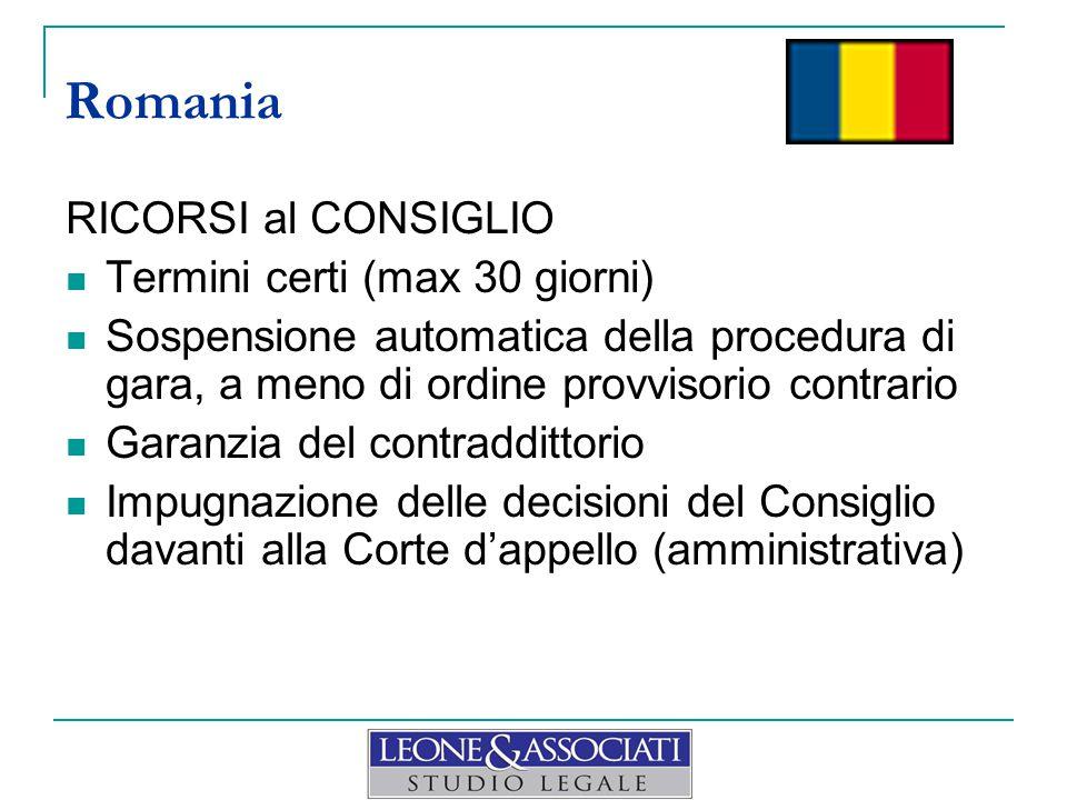 RICORSI al CONSIGLIO Termini certi (max 30 giorni) Sospensione automatica della procedura di gara, a meno di ordine provvisorio contrario Garanzia del contraddittorio Impugnazione delle decisioni del Consiglio davanti alla Corte d'appello (amministrativa) Romania