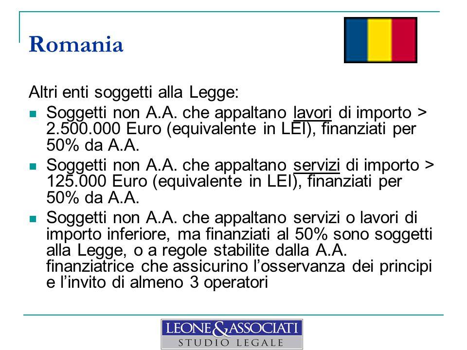 Altri enti soggetti alla Legge: Soggetti non A.A. che appaltano lavori di importo > 2.500.000 Euro (equivalente in LEI), finanziati per 50% da A.A. So
