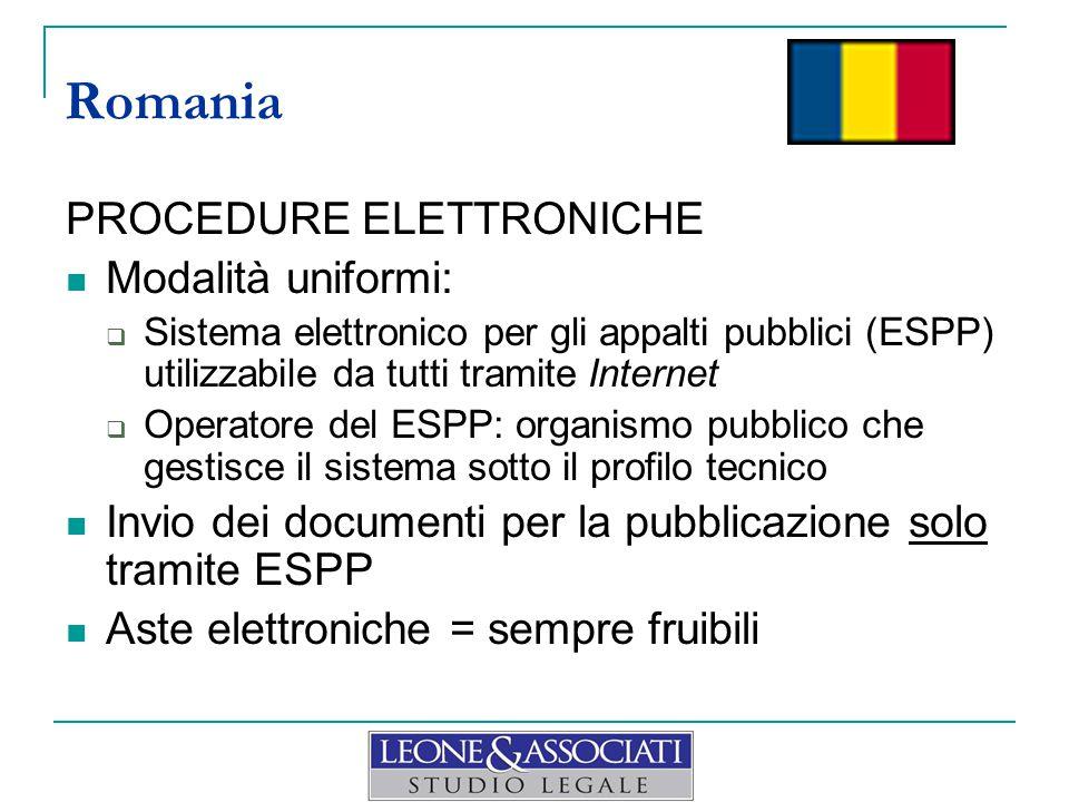 PROCEDURE ELETTRONICHE Modalità uniformi:  Sistema elettronico per gli appalti pubblici (ESPP) utilizzabile da tutti tramite Internet  Operatore del
