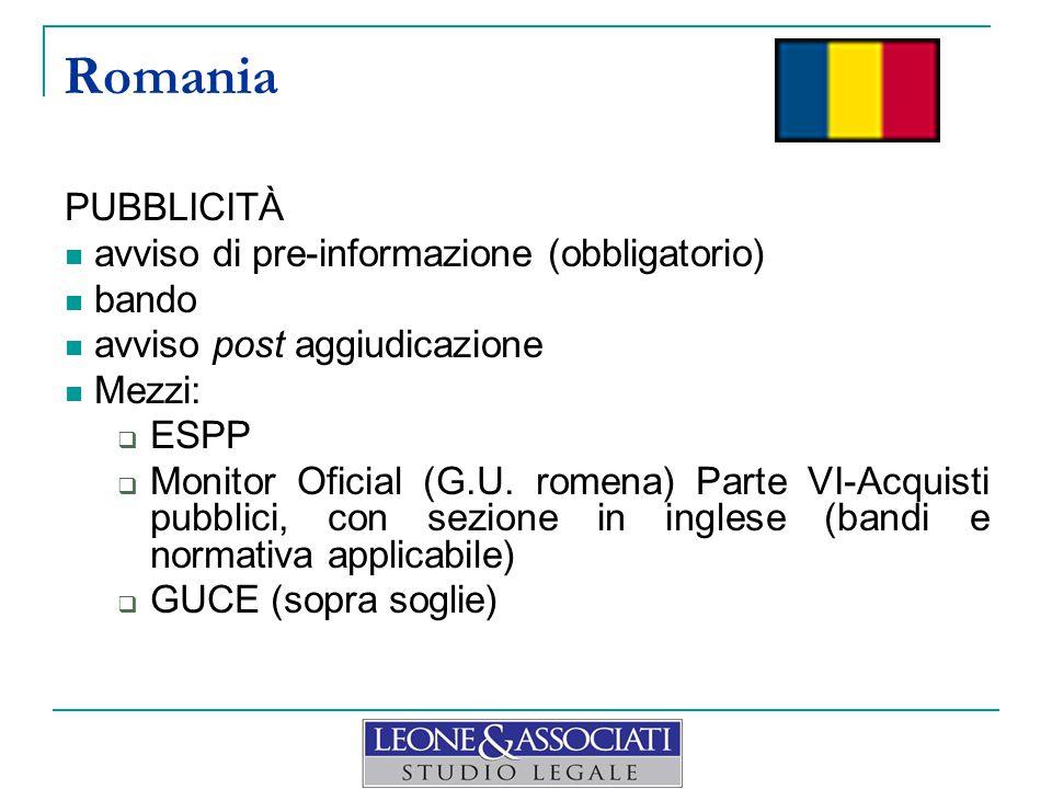 AGGIUDICAZIONE E CONTRATTO obbligo di stipula del contratto salvo casi eccezionali tassativamente indicati termini minimi dalla comunicazione dei risultati, a pena di nullità del contratto:  soprasoglia = 10 giorni  sottosoglia = 5 giorni Romania