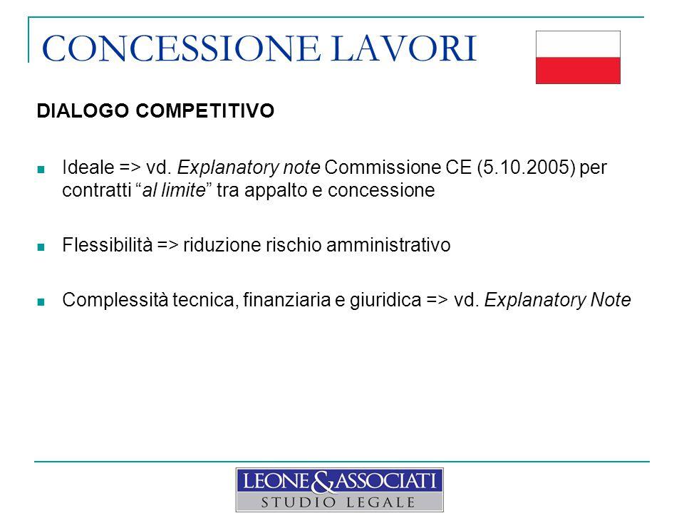 """CONCESSIONE LAVORI DIALOGO COMPETITIVO Ideale => vd. Explanatory note Commissione CE (5.10.2005) per contratti """"al limite"""" tra appalto e concessione F"""