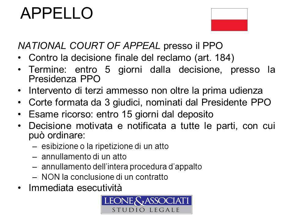 APPELLO NATIONAL COURT OF APPEAL presso il PPO Contro la decisione finale del reclamo (art.