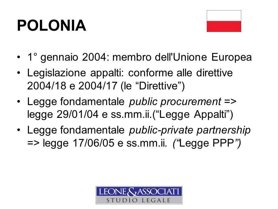 1° gennaio 2004: membro dell Unione Europea Legislazione appalti: conforme alle direttive 2004/18 e 2004/17 (le Direttive ) Legge fondamentale public procurement => legge 29/01/04 e ss.mm.ii.( Legge Appalti ) Legge fondamentale public-private partnership => legge 17/06/05 e ss.mm.ii.
