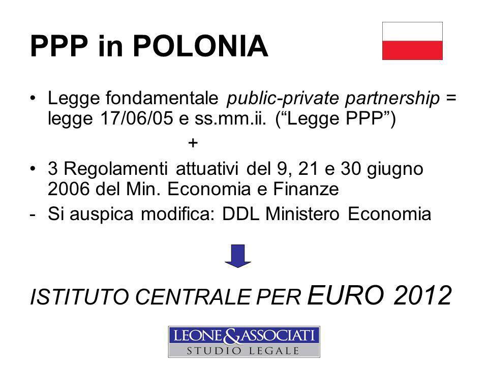 PPP in POLONIA Legge fondamentale public-private partnership = legge 17/06/05 e ss.mm.ii.
