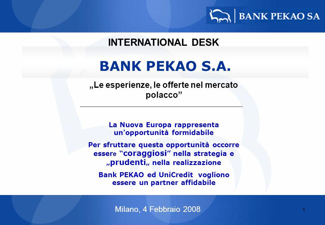 La rete di relazioni (1) L'International Desk supporta e coopera con tutte le Units di Bank Pekao.