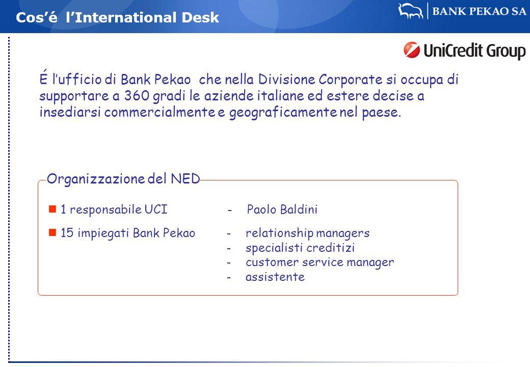 Cos'é l'International Desk É l'ufficio di Bank Pekao che nella Divisione Corporate si occupa di supportare a 360 gradi le aziende italiane ed estere decise a insediarsi commercialmente e geograficamente nel paese.