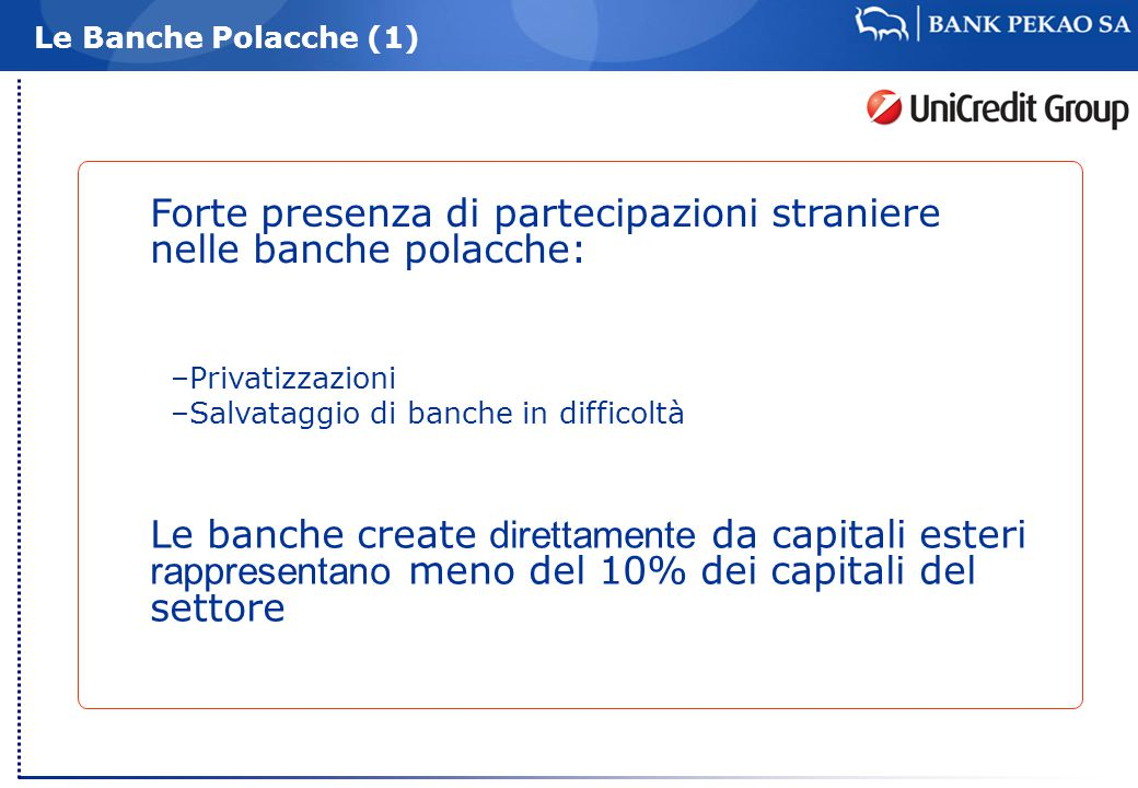 Le Banche Polacche (1) Forte presenza di partecipazioni straniere nelle banche polacche: –Privatizzazioni –Salvataggio di banche in difficoltà Le banche create direttamente da capitali esteri rappresentano meno del 10% dei capitali del settore