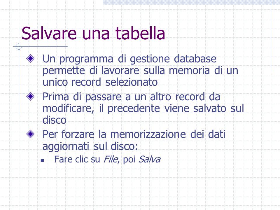 Salvare una tabella Un programma di gestione database permette di lavorare sulla memoria di un unico record selezionato Prima di passare a un altro record da modificare, il precedente viene salvato sul disco Per forzare la memorizzazione dei dati aggiornati sul disco: Fare clic su File, poi Salva