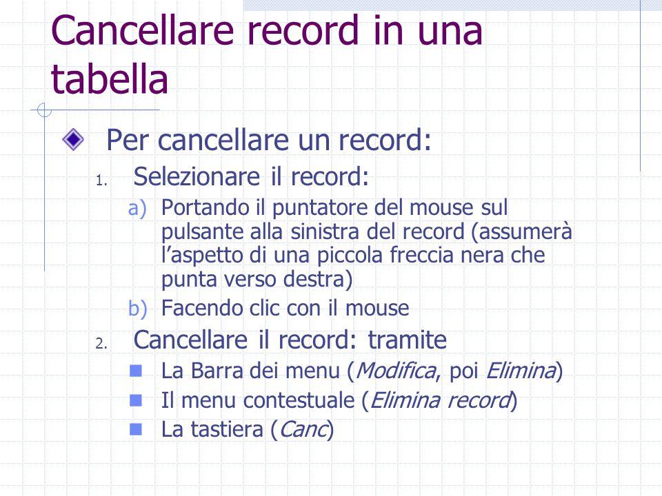 Cancellare record in una tabella Appare una finestra nella quale il programma chiede la conferma: Per confermare la cancellazione, fare clic sul pulsante Sì Per rinunciare, fare clic sul pulsante No