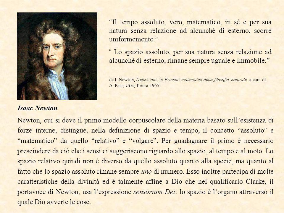 Isaac Newton Il tempo assoluto, vero, matematico, in sé e per sua natura senza relazione ad alcunchè di esterno, scorre uniformemente. Lo spazio assoluto, per sua natura senza relazione ad alcunchè di esterno, rimane sempre uguale e immobile. da I.