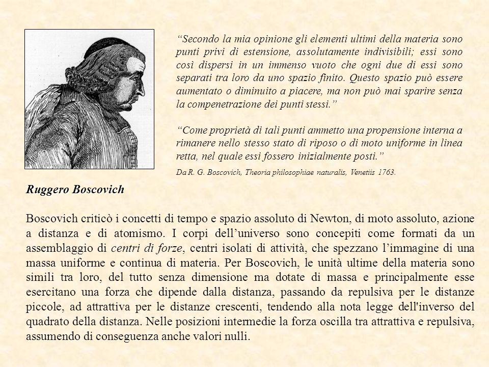 Boscovich criticò i concetti di tempo e spazio assoluto di Newton, di moto assoluto, azione a distanza e di atomismo.