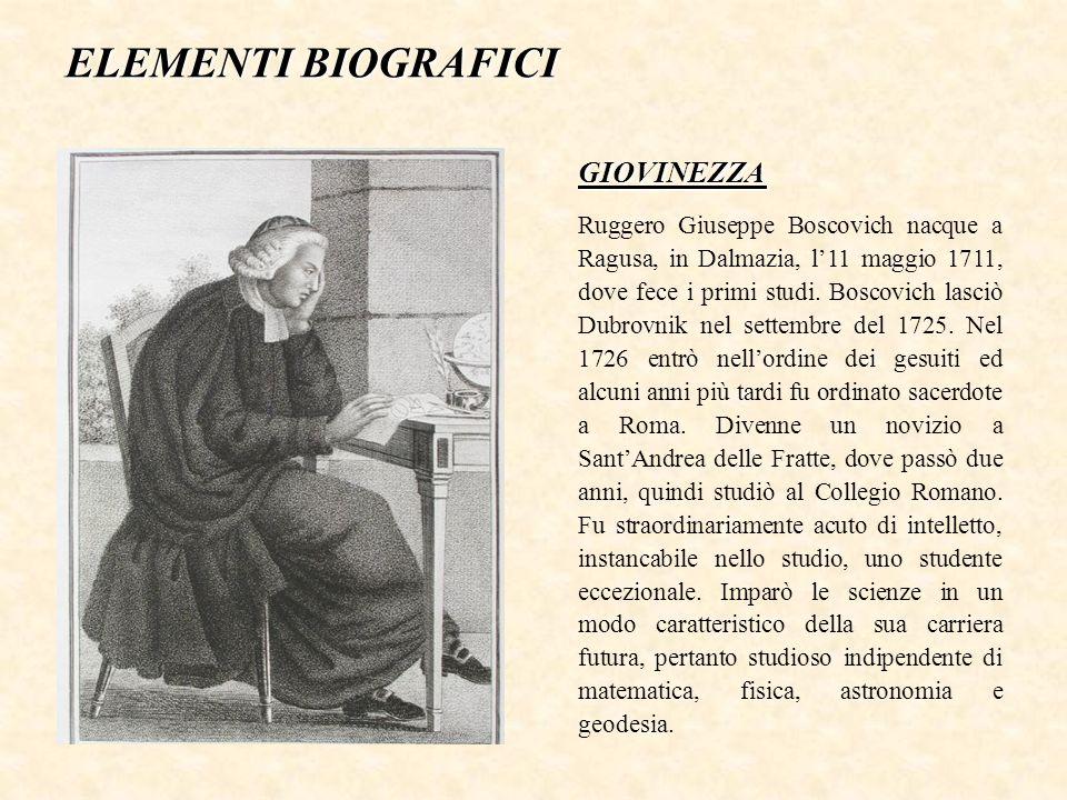 ELEMENTI BIOGRAFICI Ruggero Giuseppe Boscovich nacque a Ragusa, in Dalmazia, l'11 maggio 1711, dove fece i primi studi.