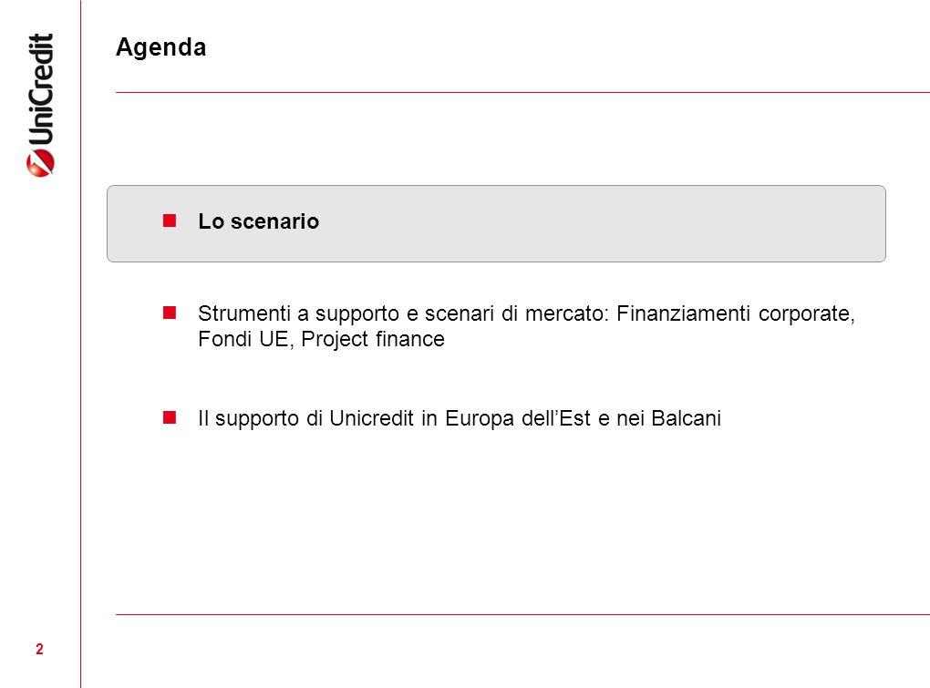 2 Agenda Lo scenario Strumenti a supporto e scenari di mercato: Finanziamenti corporate, Fondi UE, Project finance Il supporto di Unicredit in Europa