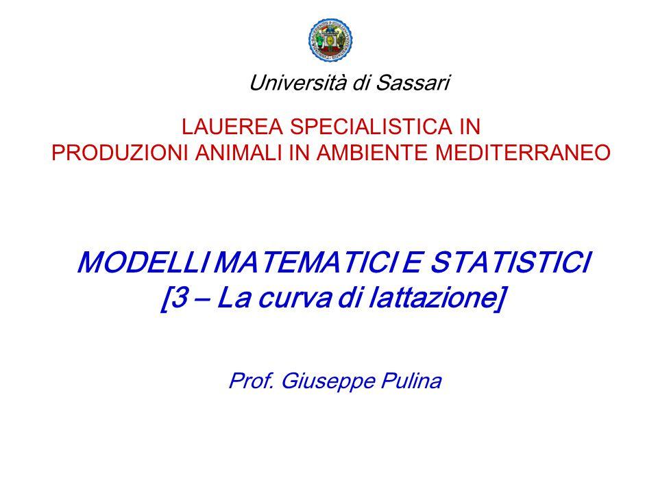 LAUEREA SPECIALISTICA IN PRODUZIONI ANIMALI IN AMBIENTE MEDITERRANEO MODELLI MATEMATICI E STATISTICI [3 – La curva di lattazione] Prof. Giuseppe Pulin