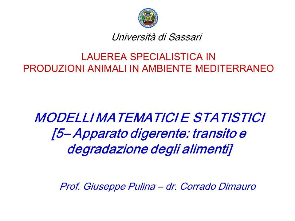 LAUEREA SPECIALISTICA IN PRODUZIONI ANIMALI IN AMBIENTE MEDITERRANEO MODELLI MATEMATICI E STATISTICI [5– Apparato digerente: transito e degradazione d