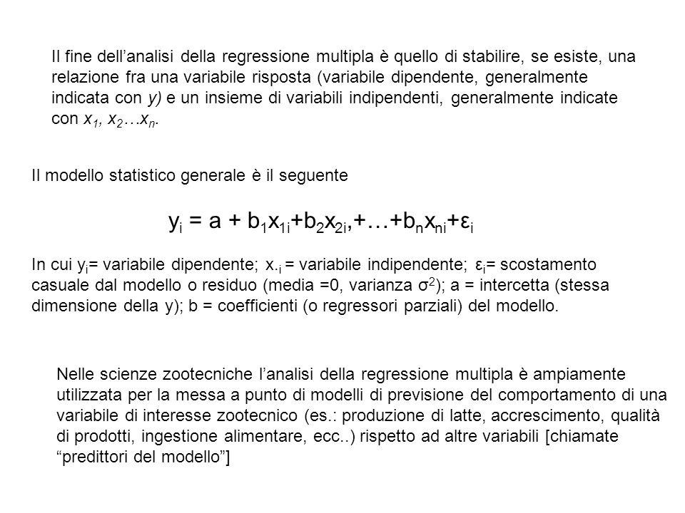 Il fine dell'analisi della regressione multipla è quello di stabilire, se esiste, una relazione fra una variabile risposta (variabile dipendente, gene