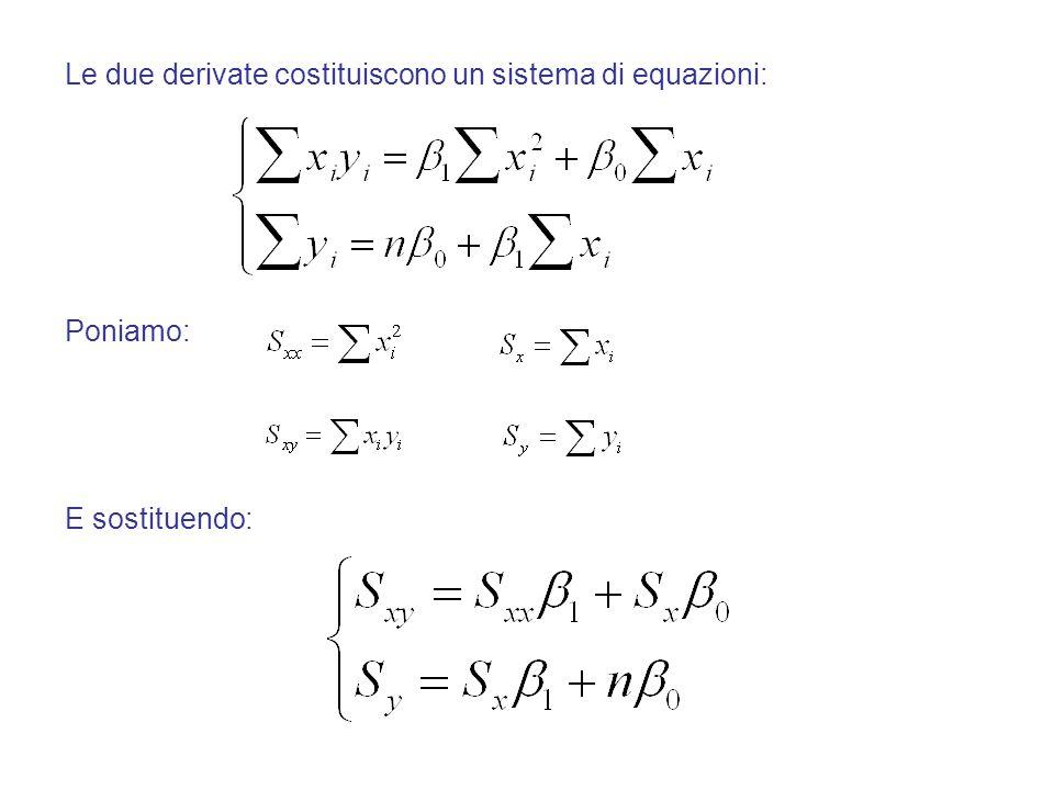 Le due derivate costituiscono un sistema di equazioni: Poniamo: E sostituendo:
