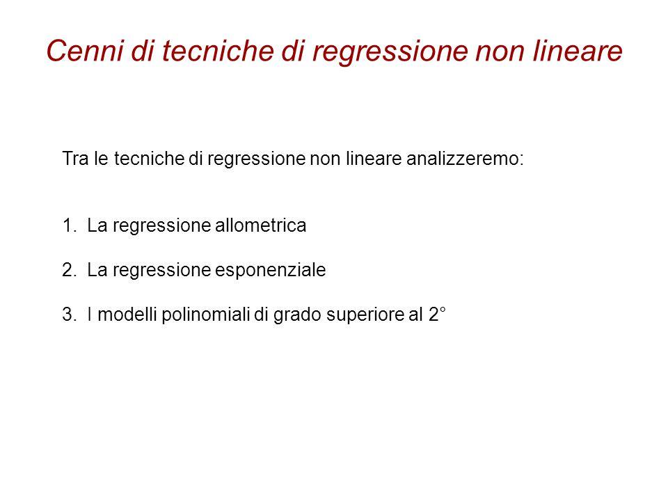 Cenni di tecniche di regressione non lineare Tra le tecniche di regressione non lineare analizzeremo: 1.La regressione allometrica 2.La regressione es