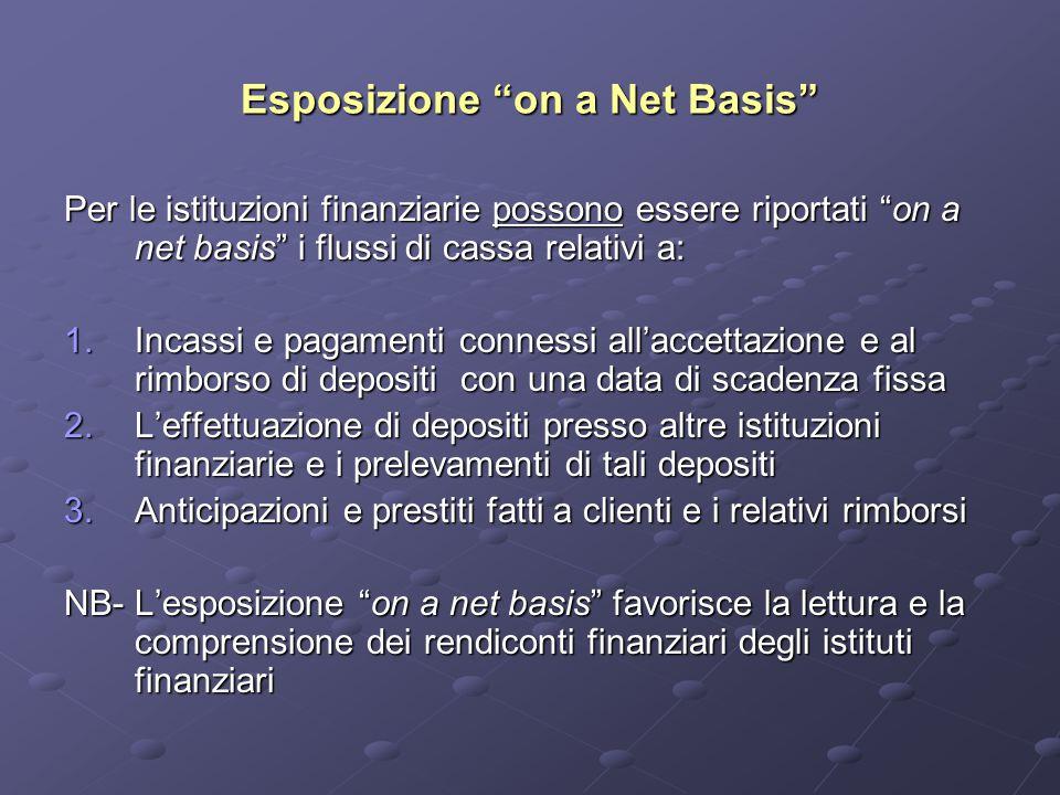 Esposizione on a Net Basis Per le istituzioni finanziarie possono essere riportati on a net basis i flussi di cassa relativi a: 1.Incassi e pagamenti connessi all'accettazione e al rimborso di depositi con una data di scadenza fissa 2.L'effettuazione di depositi presso altre istituzioni finanziarie e i prelevamenti di tali depositi 3.Anticipazioni e prestiti fatti a clienti e i relativi rimborsi NB- L'esposizione on a net basis favorisce la lettura e la comprensione dei rendiconti finanziari degli istituti finanziari