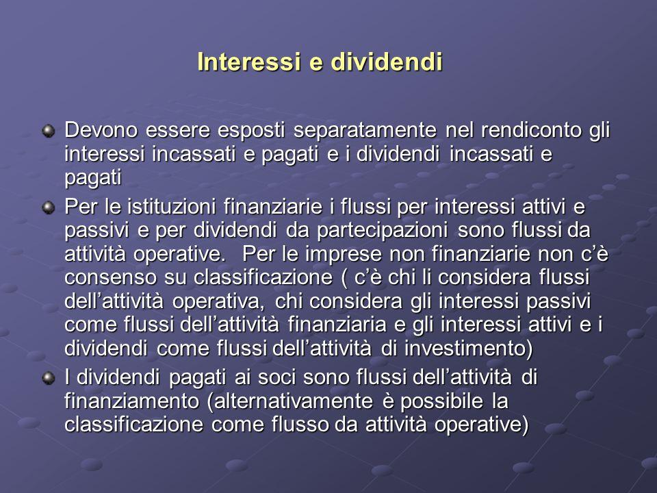 Interessi e dividendi Devono essere esposti separatamente nel rendiconto gli interessi incassati e pagati e i dividendi incassati e pagati Per le isti