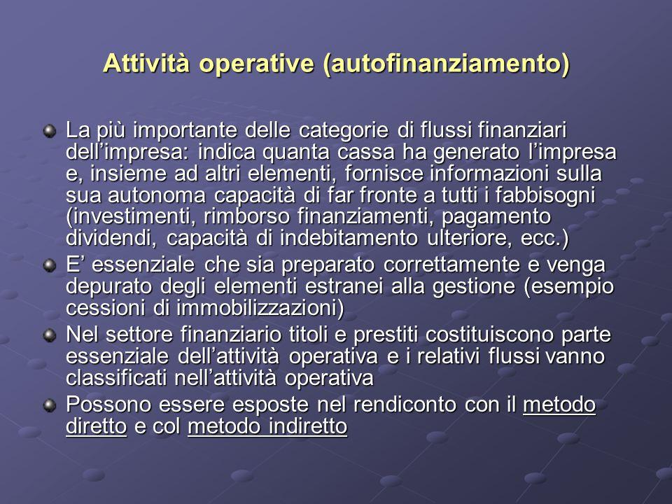 Attività operative (autofinanziamento) La più importante delle categorie di flussi finanziari dell'impresa: indica quanta cassa ha generato l'impresa
