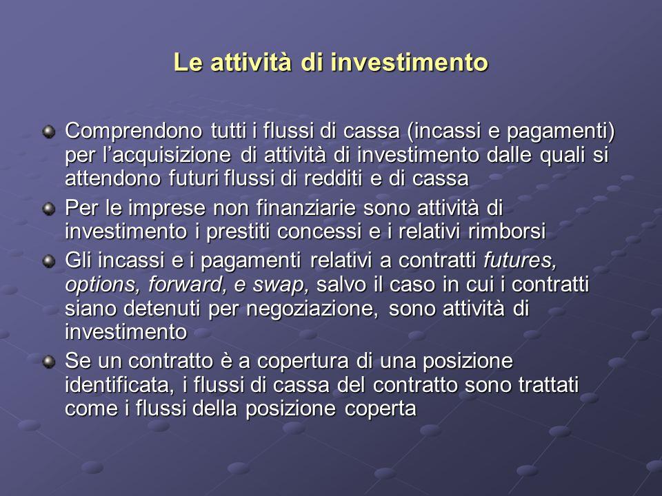 Le attività di investimento Comprendono tutti i flussi di cassa (incassi e pagamenti) per l'acquisizione di attività di investimento dalle quali si attendono futuri flussi di redditi e di cassa Per le imprese non finanziarie sono attività di investimento i prestiti concessi e i relativi rimborsi Gli incassi e i pagamenti relativi a contratti futures, options, forward, e swap, salvo il caso in cui i contratti siano detenuti per negoziazione, sono attività di investimento Se un contratto è a copertura di una posizione identificata, i flussi di cassa del contratto sono trattati come i flussi della posizione coperta