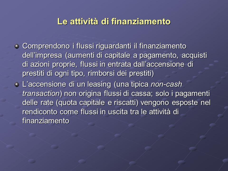 Le attività di finanziamento Comprendono i flussi riguardanti il finanziamento dell'impresa (aumenti di capitale a pagamento, acquisti di azioni proprie, flussi in entrata dall'accensione di prestiti di ogni tipo, rimborsi dei prestiti) L'accensione di un leasing (una tipica non-cash transaction) non origina flussi di cassa; solo i pagamenti delle rate (quota capitale e riscatti) vengono esposte nel rendiconto come flussi in uscita tra le attività di finanziamento