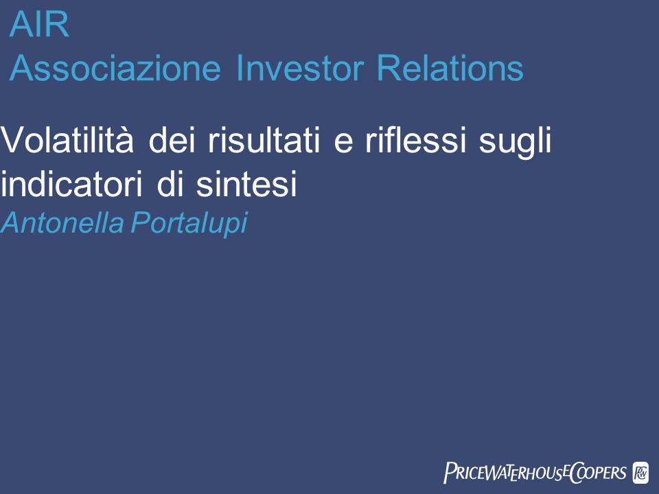 AIR Associazione Investor Relations Volatilità dei risultati e riflessi sugli indicatori di sintesi Antonella Portalupi 