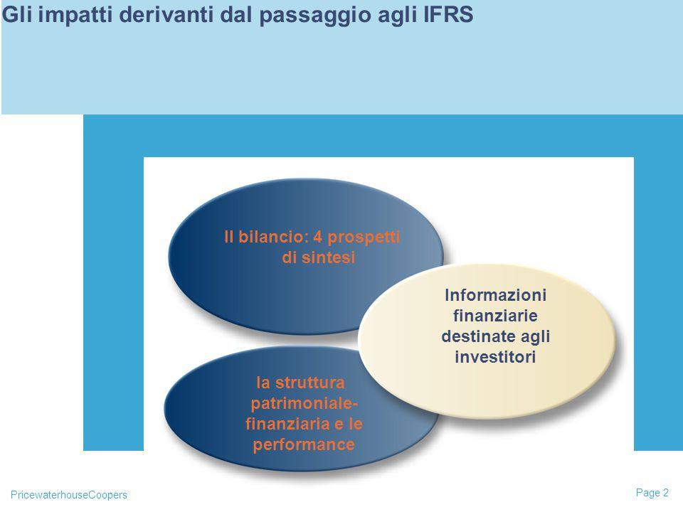 PricewaterhouseCoopers Page 2 L'impatto degli IAS riguarderà principalmente 3 aree Il bilancio: 4 prospetti di sintesi la struttura patrimoniale- finanziaria e le performance Gli impatti derivanti dal passaggio agli IFRS Informazioni finanziarie destinate agli investitori