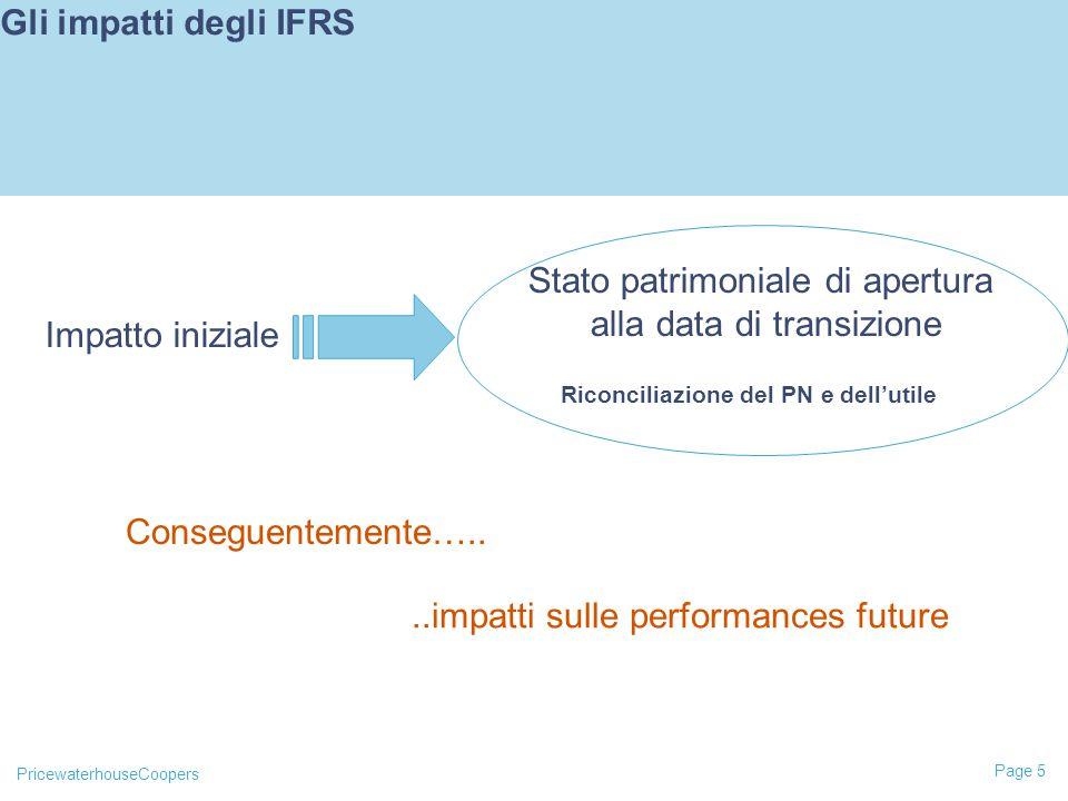 PricewaterhouseCoopers Page 5 Gli impatti degli IFRS Impatto iniziale Stato patrimoniale di apertura alla data di transizione Riconciliazione del PN e dell'utile Conseguentemente…....impatti sulle performances future