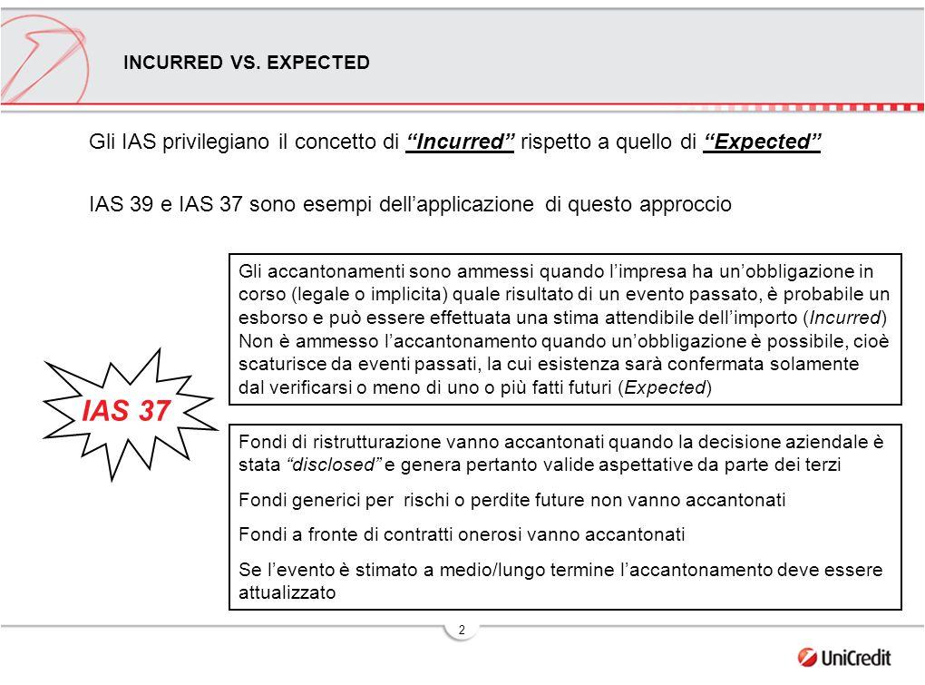 """2 Gli IAS privilegiano il concetto di """"Incurred"""" rispetto a quello di """"Expected"""" IAS 39 e IAS 37 sono esempi dell'applicazione di questo approccio Fon"""