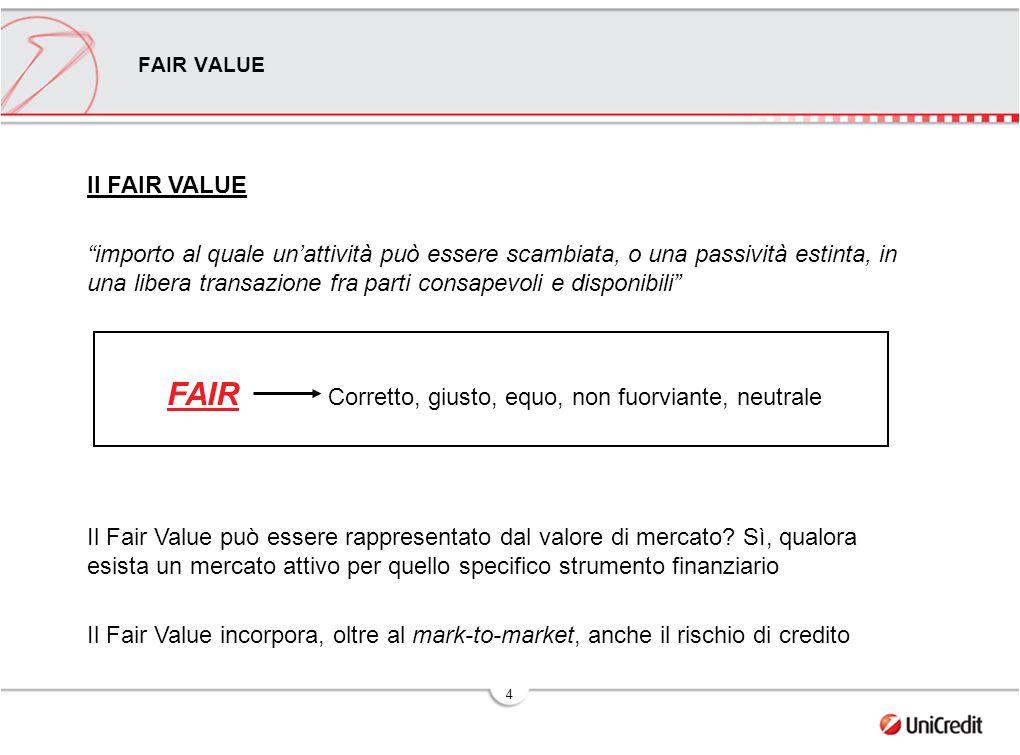 4 FAIR VALUE Il FAIR VALUE importo al quale un'attività può essere scambiata, o una passività estinta, in una libera transazione fra parti consapevoli e disponibili FAIR Corretto, giusto, equo, non fuorviante, neutrale Il Fair Value può essere rappresentato dal valore di mercato.