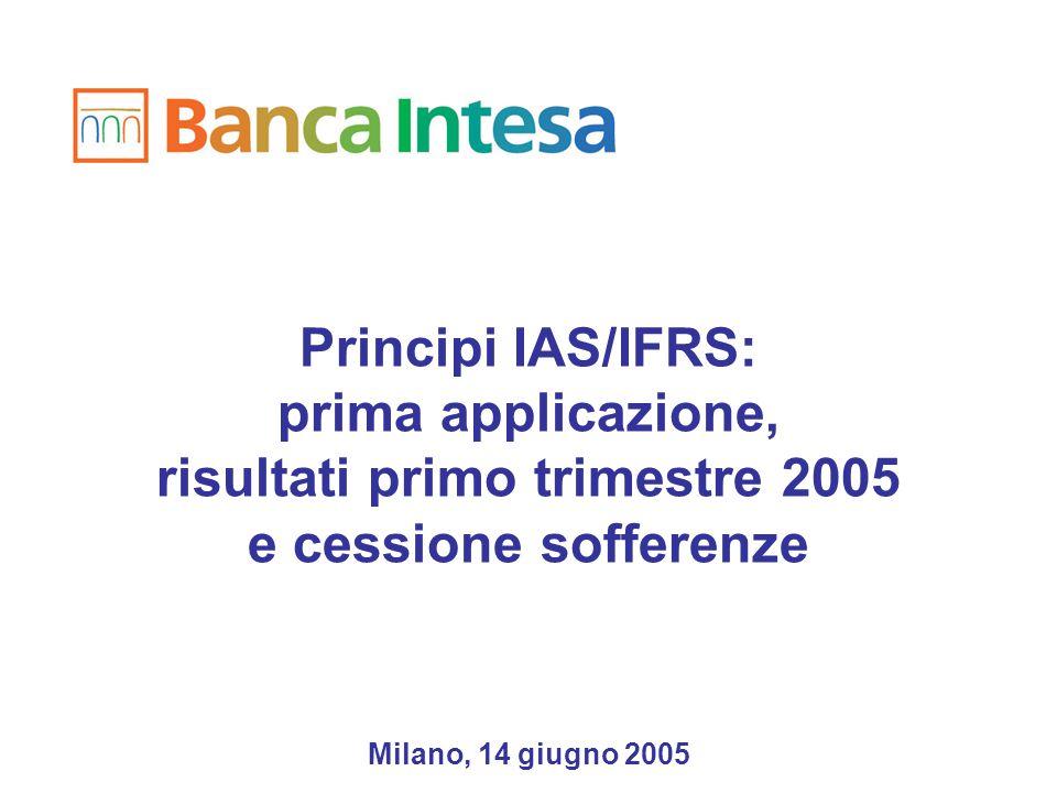 Principi IAS/IFRS: prima applicazione, risultati primo trimestre 2005 e cessione sofferenze Milano, 14 giugno 2005