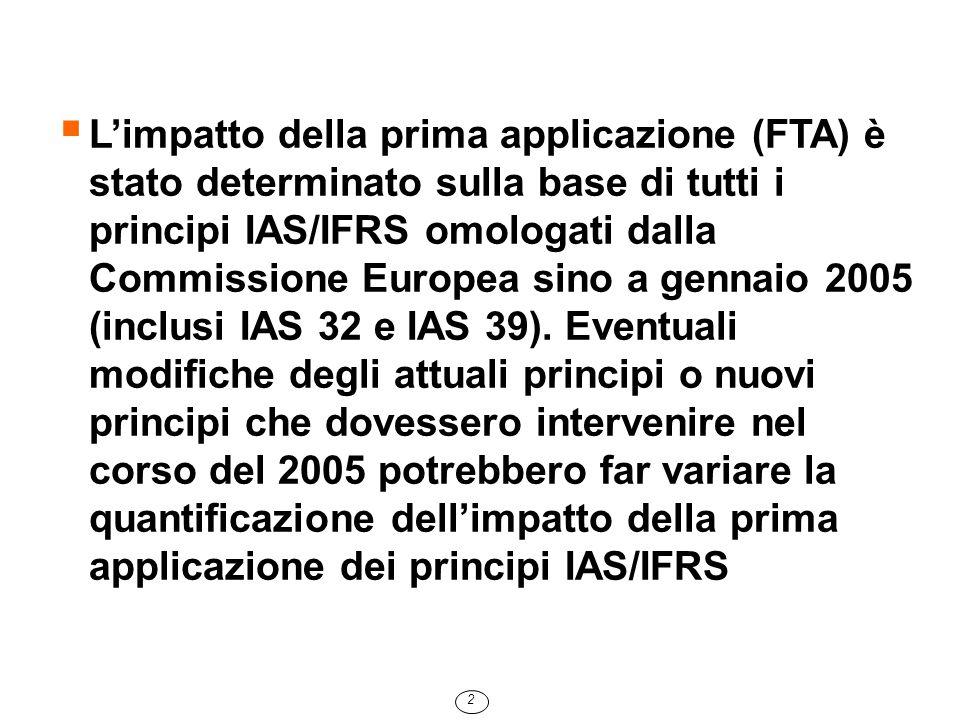  In base all'IFRS 1, le differenze di valore determinate dal cambiamento dei principi contabili sono state imputate al Patrimonio Netto  Lo IAS 39 applicato è la versione integrale omologata dalla Commissione Europea  Il Gruppo Intesa non si è avvalso della facoltà di rivalutare al fair value gli immobili, al fine di minimizzare la volatilità degli Utili e del Patrimonio Netto  Con riferimento alla valutazione collettiva dei crediti, è stata realizzata ogni possibile sinergia con Basilea II, le cui norme entreranno in vigore dal 2007 3