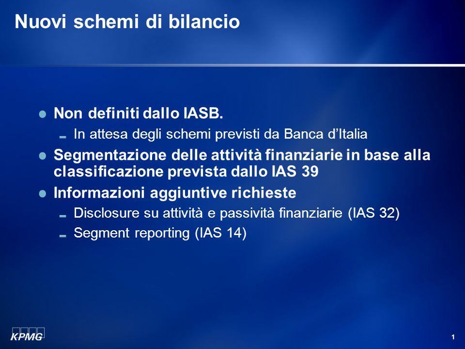 1 Nuovi schemi di bilancio Non definiti dallo IASB. In attesa degli schemi previsti da Banca d'Italia Segmentazione delle attività finanziarie in base