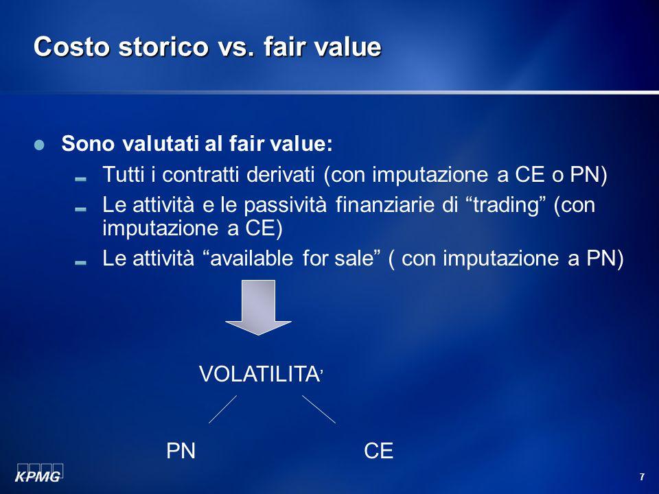 7 Costo storico vs. fair value Sono valutati al fair value: Tutti i contratti derivati (con imputazione a CE o PN) Le attività e le passività finanzia