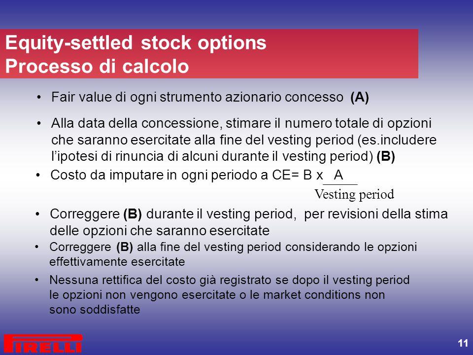 11 Fair value di ogni strumento azionario concesso (A) Alla data della concessione, stimare il numero totale di opzioni che saranno esercitate alla fi